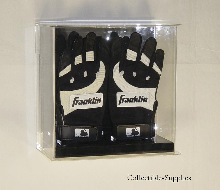 deluxe sports memorabilia display case with a mirror back wall mountable or sits on a counter your choice fits two batting gloves any size