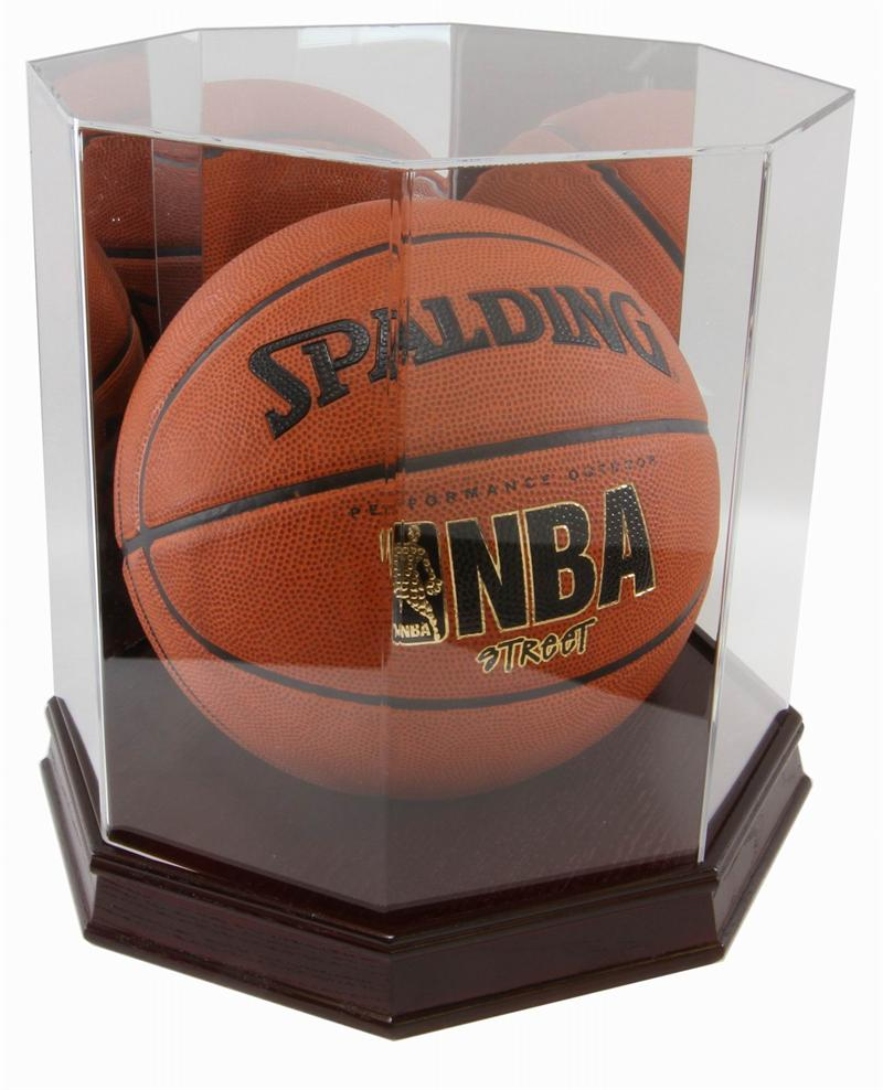 New Wood Base Full Size Basketball Octagon Display Case Ebay