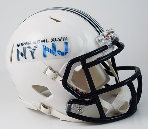Football Helmet Vinyl Wraps : Super bowl xlviii nfl official speed replica mini